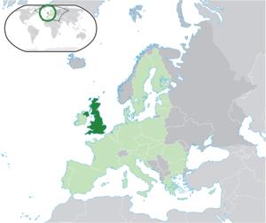 Location map: United Kingdom (dark green) / Eu...