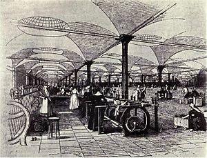 English: Drawing of Marshall's Mills, Holbeck ...