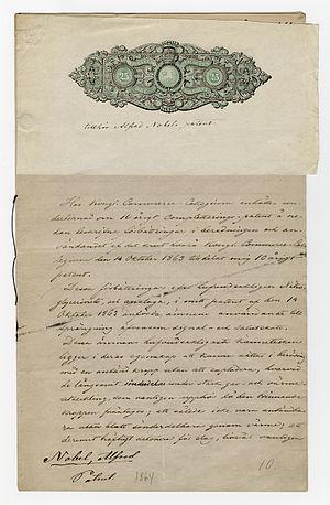 Alfred Nobel's application for patent, regardi...