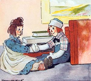 Rag doll characters Raggedy Ann and Raggedy An...