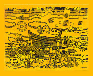 English: Serge Lachinov. Drunk Ark. 1972. Ink