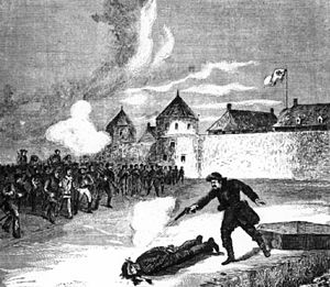 An artist's depiction of the execution of Scot...