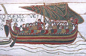 Image from the Bayeux Tapestry showing a longs...