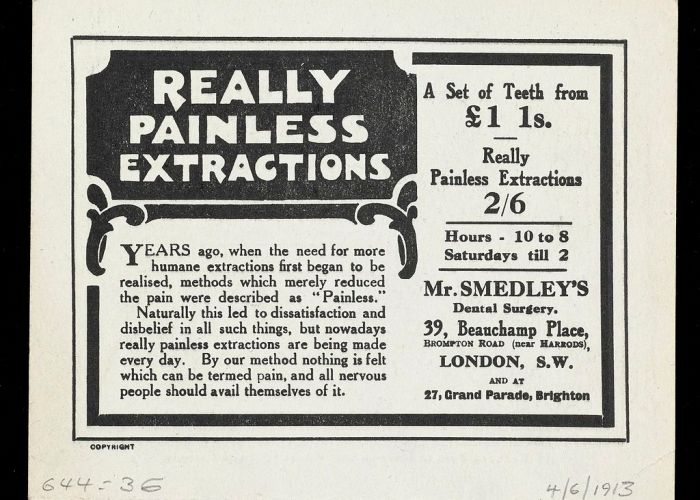 Advertising from Mr. Smedley's dental surgery.