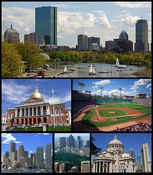 Theo chiều kim đồng hồ: Quang cảnh Back Bay nhìn từ sông Charles, Fenway Park, Nhà thờ Cơ Đốc Khoa học, Boston Common và Downtown Crossing, Financial District nhìn từ cảng Boston, và Tòa nhà bang Massachusetts