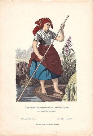 Deutsch: Wendisches Bauernmädchen in Arbeitstr...