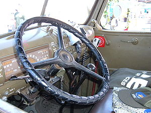 The steering wheel of World War II Chevrolet f...