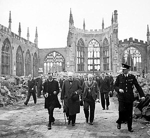 Winston Churchill visiting the ruins of Covent...