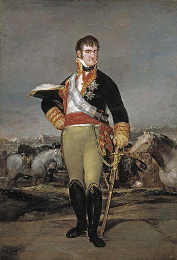 Fernando VII ante un campamento. Óleo sobre li...