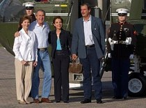 President George W. Bush and Laura Bush welcom...