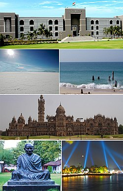 Clockwise from top: High Court of Gujarat, Dwarka Beach, Laxmi Vilas Palace, Kankaria Lakefront, Gandhi Ashram, Salt Desert of Kutch.