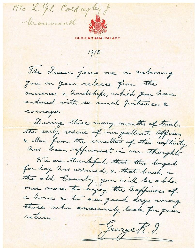 FileHand Written Letter Of Recognition For World War 1