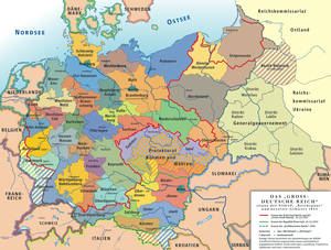 Deutsch: Karte des »Großdeutschen Reiches« (19...