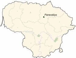 Location of Panevėžys