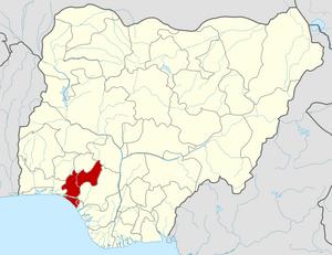 English: Map locator of Nigeria.