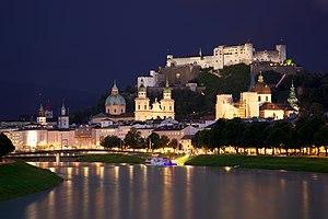 English: Old Town Salzburg across the Salzach ...