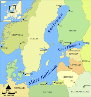 English: A map of the Baltic region, showing t...