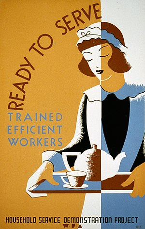 Stylized drawing of a maid on a WPA poster.