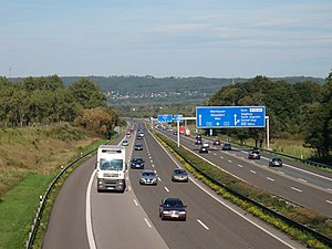 Photo of German Autobahn A 3, with interchange...