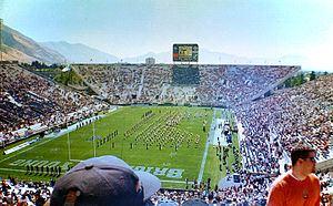 English: School band performing prior to a BYU...