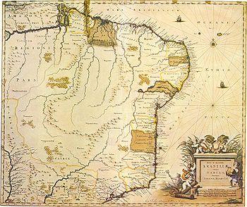 Mapa de Joan Blaeu de 1640 já com novas denominação de várias capitanias.