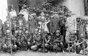 Nias band of headhunters surrendering to Dutch.
