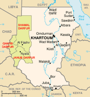 "Map of Darfur, Sudan (""Shamal"" means..."