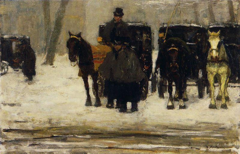 Archivo: Floris Arntzenius - Huurkoetsen en de sneeuw.jpg