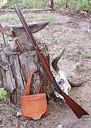 Anvil, powder horn, Bowie knife, Hawken rifle,...
