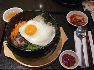 Bibimbap, a Korean dish made with various namu...
