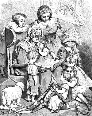A picture by Gustave Doré of Mother Goose read...