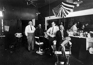 Barber Shop in Richardson, Texas, circa 1920. ...