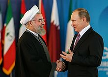 Rouhani meeting with Russian President Vladimir Putin in Tehran during the Third GECF summit, 22 November 2015.