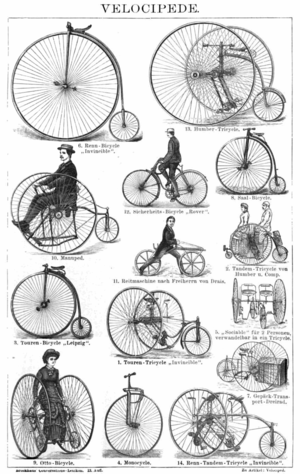 English: Drawing of various antique bicycles, ...