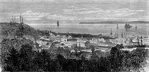 English: View of Astoria, Oregon, a wood engra...