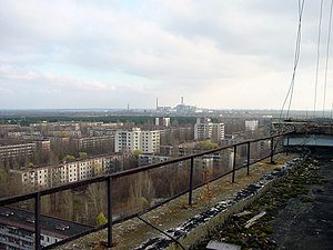 View of Chernobyl taken from the roof of a bui...