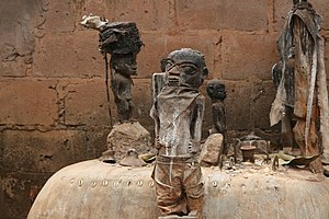 Voodoo altar with several fetishes, picture ma...