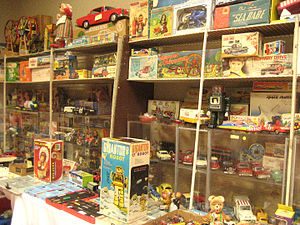 Dealer display of antique toys for sale at Ant...