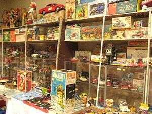 Dealer display of antique toys for sale at Ant...