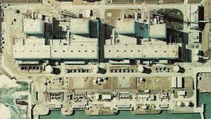 Fukushima I Nuclear Power Plant. Tight crop sh...