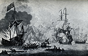 HMS Mary Rose in a battle with seven Algerine ...