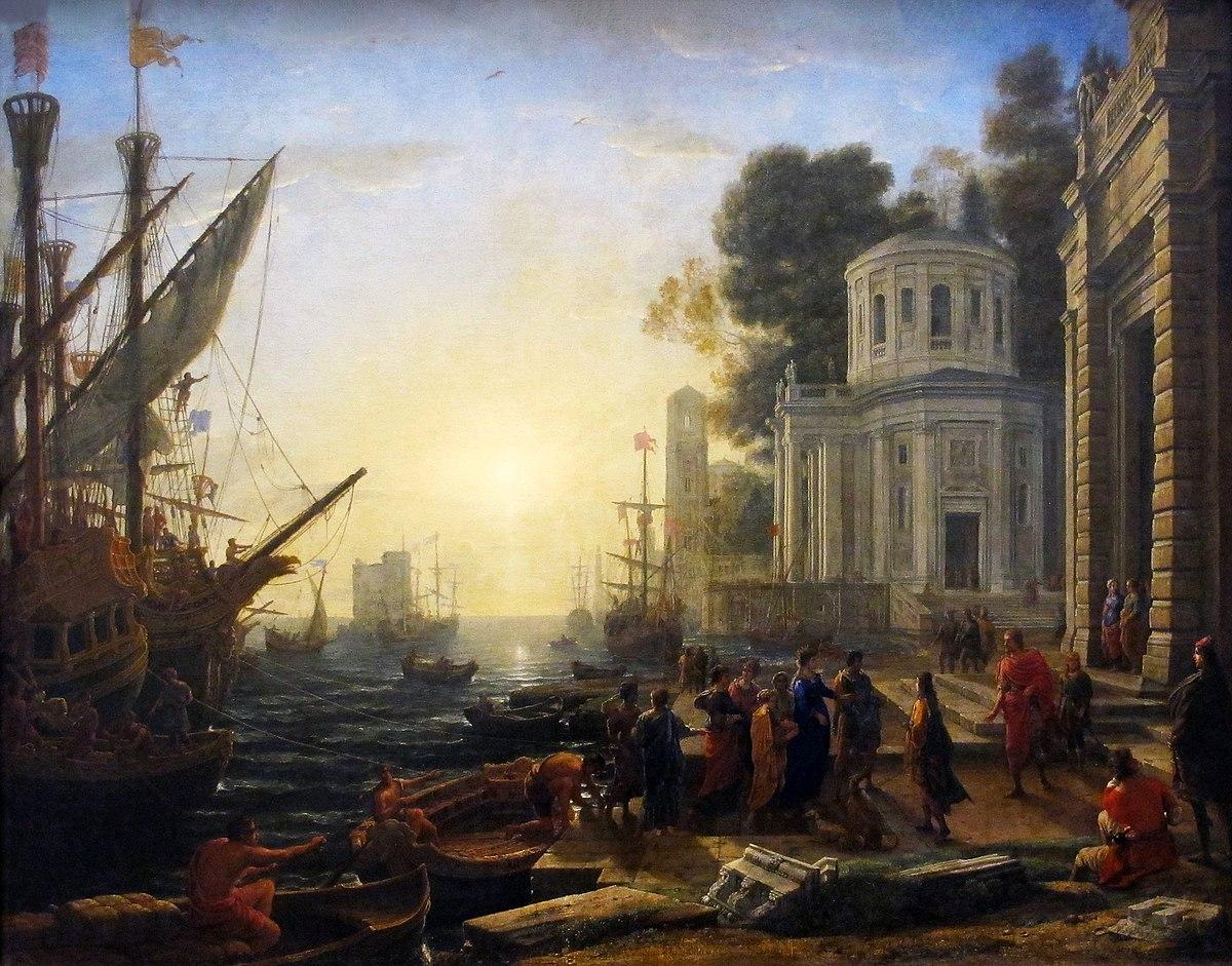 Puerto con el desembarque de Cleopatra en Tarso