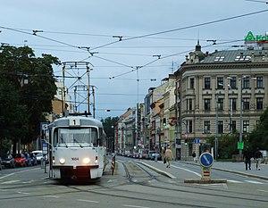 English: Tram in Brno (Brünn), Moravia. Moravs...