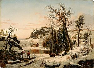 New England Early Winter. 1849. By Samuel Lanc...