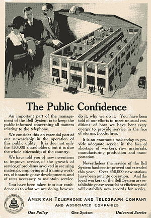Advertisment for AT&T company, 1920