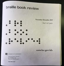 Braille magazine cover example