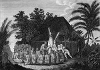 English: Captain James Cook and four of his me...