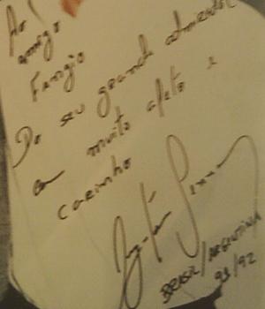 Español: autografo de Juan Manuel Fangio
