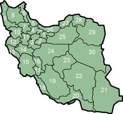 wilyah-wilayah Iran menurut nomor-nomor di sebelah kiri