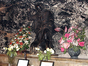 A statue in the Cave of Elijah. The cave is lo...